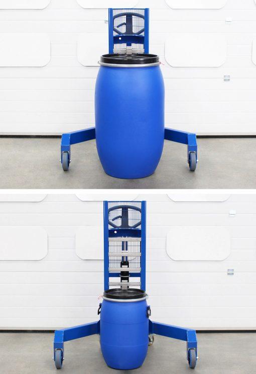 Adjustable corner drum lifter showing different drum sizes