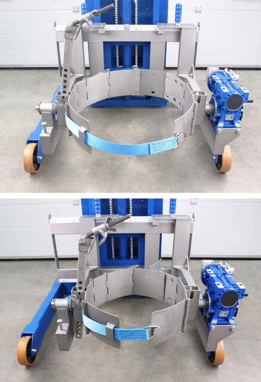 Universal drum tipper adjustable band set for two different drum sizes