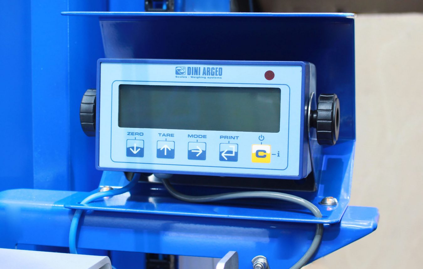 Close up of load-cell weighing system display unit.