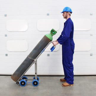 An operator uses a cylinder trolley made by manual handling equipment manufacturers STS.