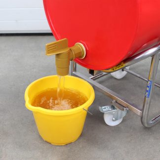 The contents of a drum are decanted into a bucket using an STS manual handling drum cradle.