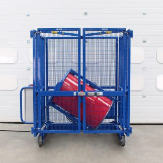 The STS drum mixer agitates a drum safely in a cage.