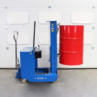 The STS counterbalance drum depalletiser lifts a steel drum.