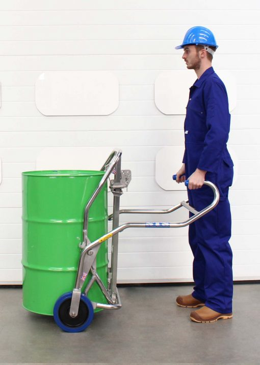 See our award winning drum trolley designed to protect operators.