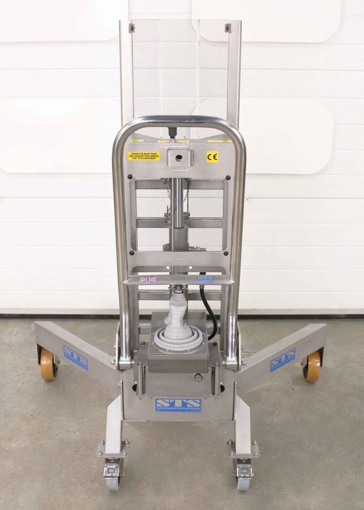 An image of the rear of a stainless steel corner barrel lifter.