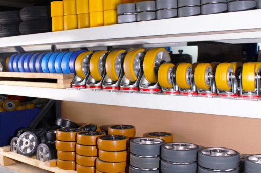 Shelves of wheels used by manual handling equipment manufacturer STS.