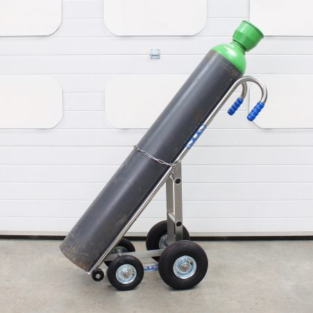 An STS cylinder handling trolley with a cylinder loaded