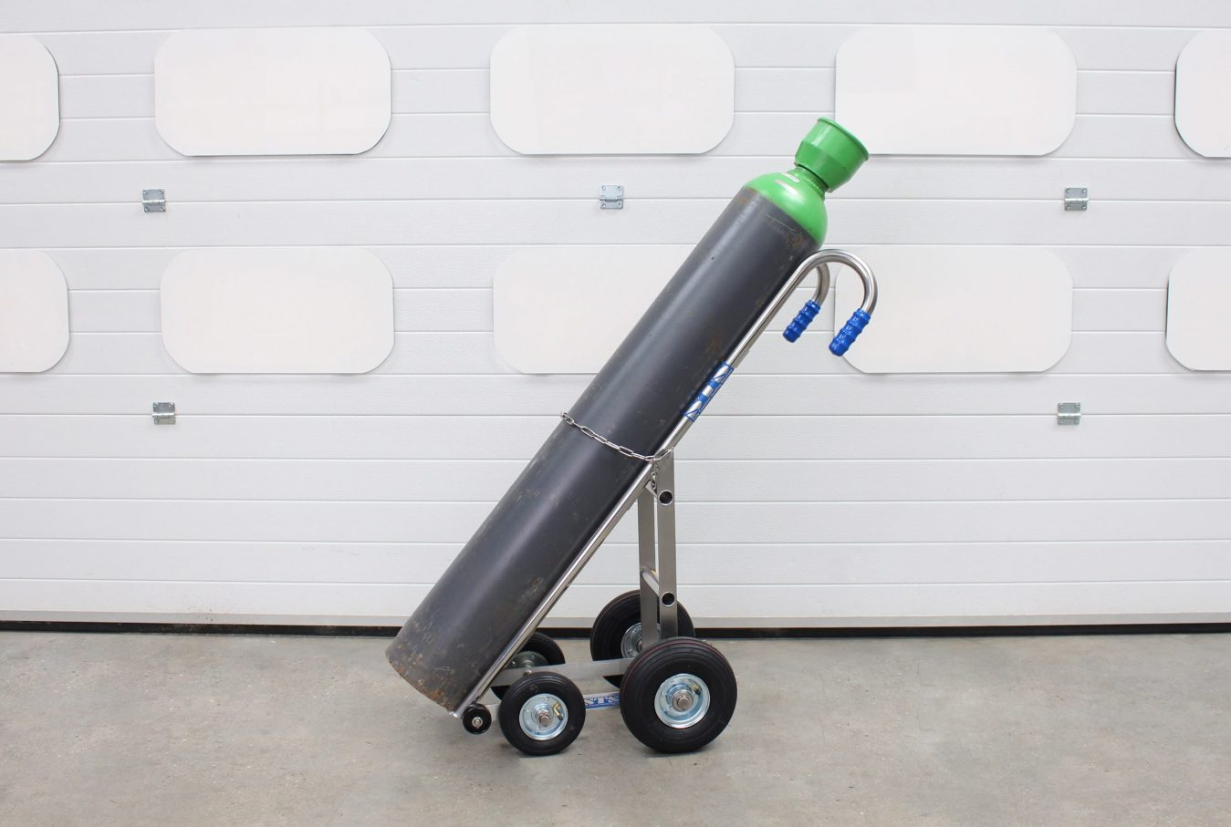 A custom STS gas bottle trolley for moving gas cylinders.
