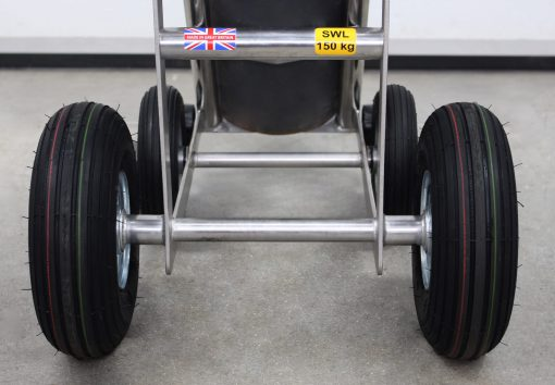 The all-terrain wheels on a bespoke STS gas bottle trolley, for moving gas cylinders over rough ground.