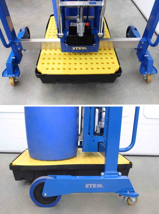 Close up image of the straddle height over a containment bund on the drum lifter for spill pallets