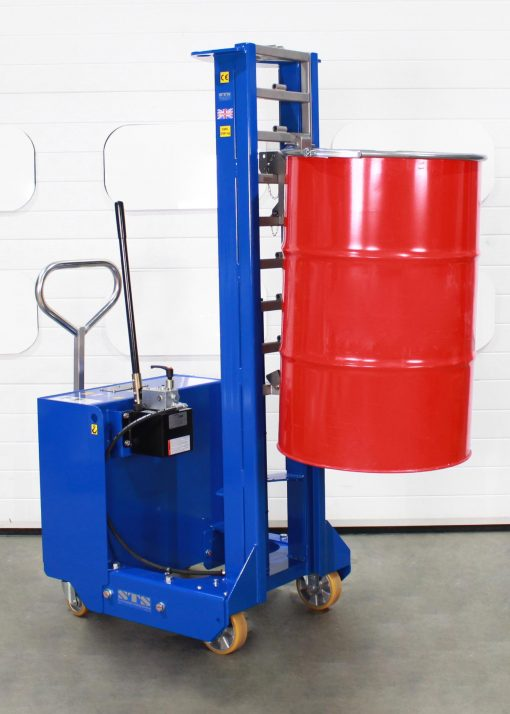 Manual hydraulic drum lifter lifting a 205 litre red steel drum to height.