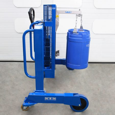 Image of the side-shift drum positioner with a twin hook boom arm for small containers and kegs.