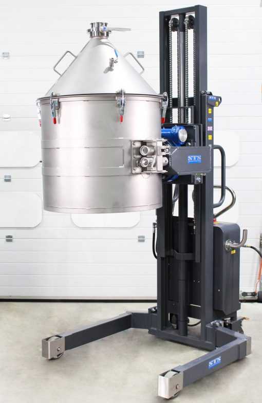 sts special stacker holds a bespoke stainless steel drum suitable for inverter