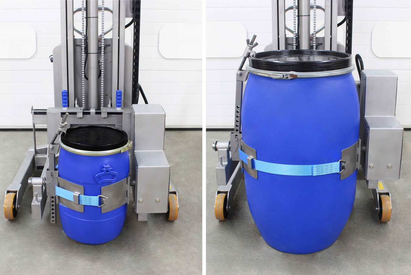 Steel, plastic and fibreboard drums from 50 litres, right up to 220 litres can be handled within the universal band.