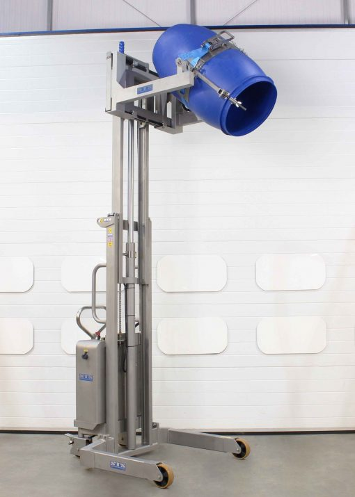 Stainless steel telescopic drum tilter lifted to full height holding a 200 litre drum/barrel.
