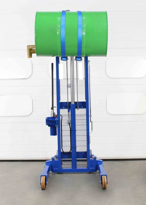 Manual side drum lifter rotator allows operators to tip drums sideways.
