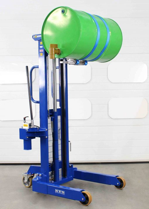 Manual side drum lifter rotator suitable for decanting 205 litre drums.