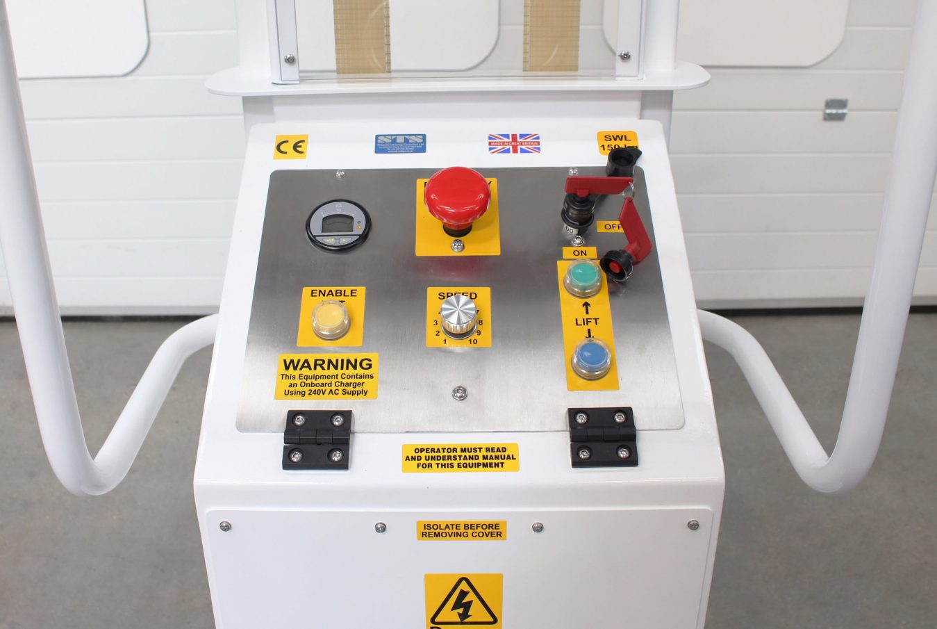 The control panel of an STS electric forked pallet mover