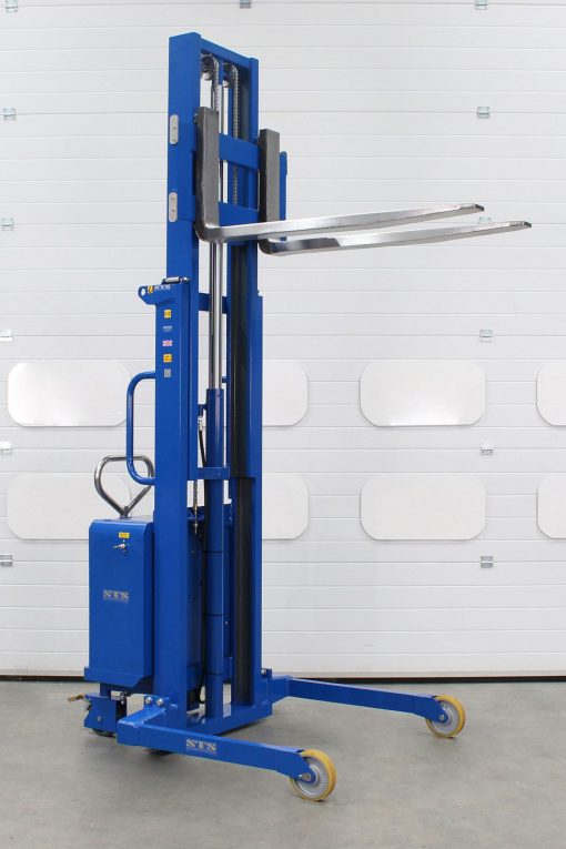 An ATEX certified telescopic forked stacker, raised to full height