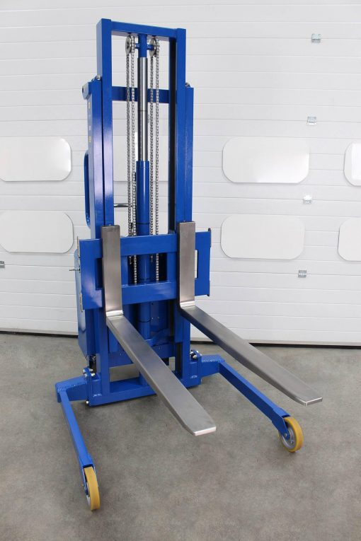 An ATEX certified telescopic forked stacker