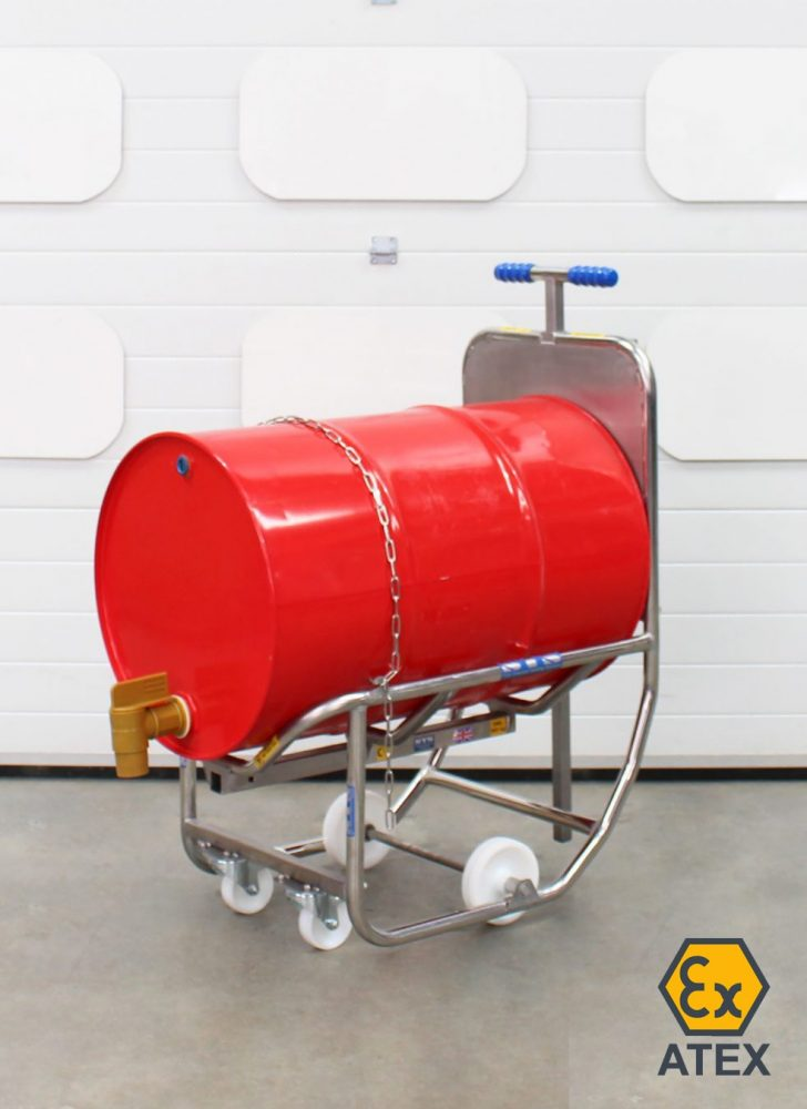ATEX Drum Dispensing Cradle on wheels showing drum with tap fitted