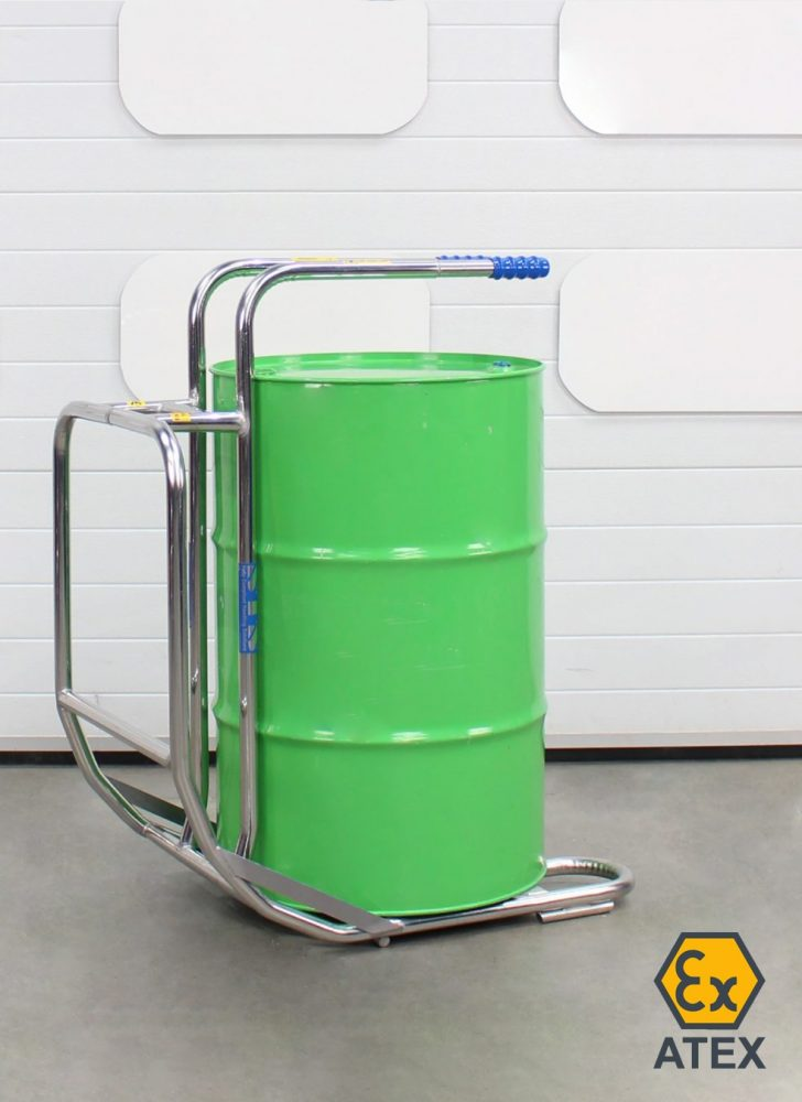 Stainless steel ATEX drum cradle with drum standing upright on baseplate