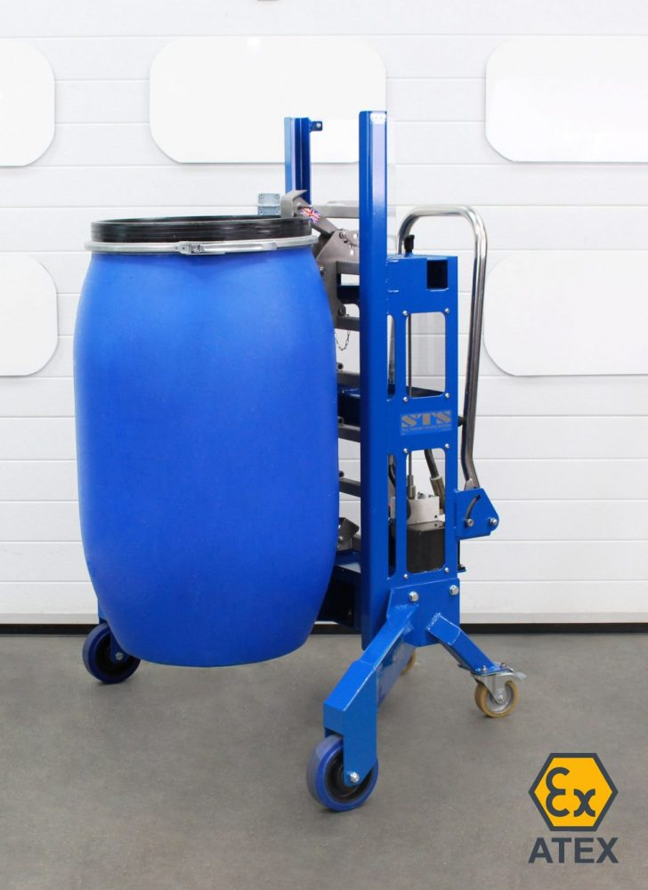 ATEX Corner Depalletser with MAUSER drum lifted to full height, ATEX chains visible