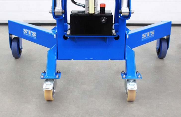 The base and wheels of the STS Corner Drum Depalletiser