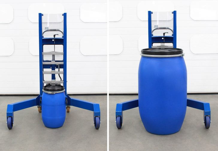 The stainless steel ladder rack on the corner drum depalletiser, accommodating drums of different heights