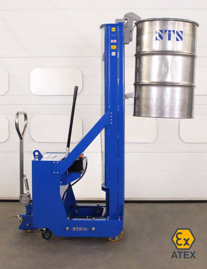 ATEX drum stacker suitable for use in zoned areas lifts a drum to full height.