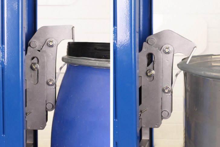 Automatic beak gripper attaches to an open-top steel and MAUSER drum.