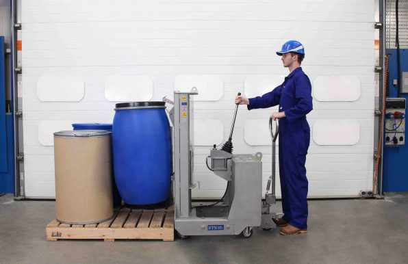 Stainless Steel Drum Lifter Placing A Drum on a Pallet