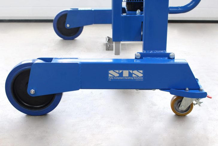 The wheels of the STS Side-Shift Drum Depalletiser, which are chemical resistant