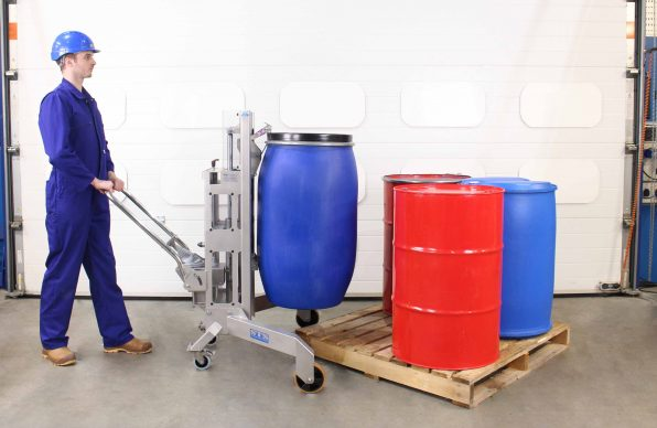 Stainless Steel Drum Lifter moving a 200kg food drum