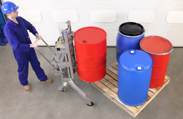 Stainless Steel Drum Lifter moving drums and barrels off the corner of pallets