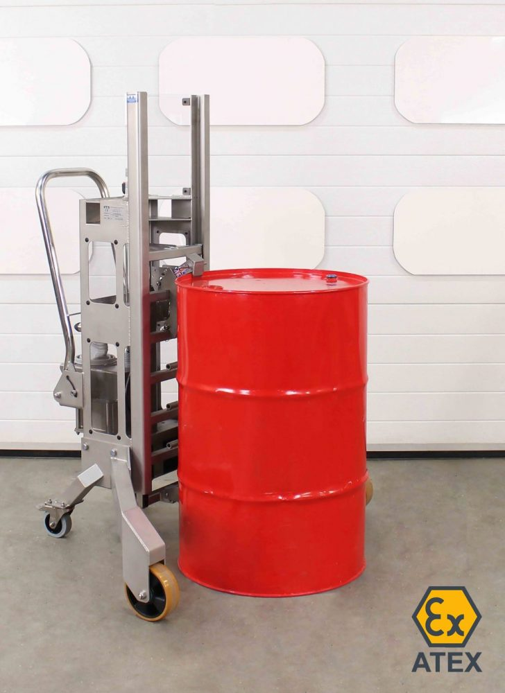 ATEX Stainless steel drum lifter suitable for use in hazardous and zoned areas.