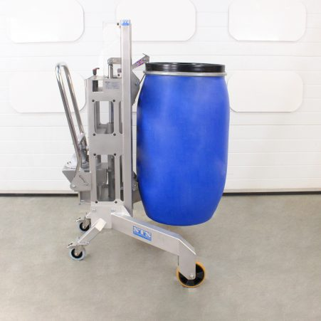 Stainless steel drum lifting trolley suitable for lifting and unloading drums from the corners of pallets