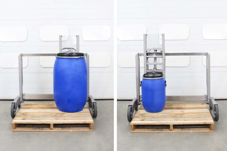 The stainless steel drum lifter has a side-shift mechanism which allows you to lift drums off all four corners of the pallet.