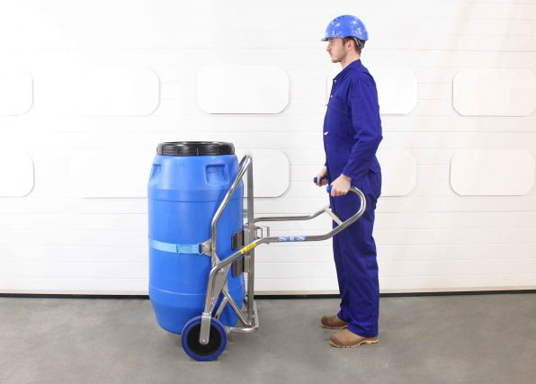 Stainless steel barrel trolley suitable for 350kg drums being used by an operator