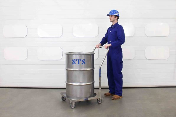 Stainless steel 200 litre drums can be moved easily with the STS drum dolly with handle.