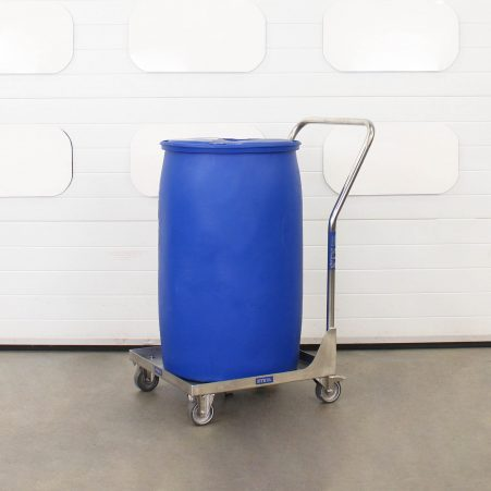 Stainless steel dolly with handle moving a 200 litre plastic HDPE drum.