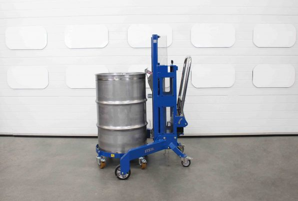Corner drum lifter loads a steel drum onto the oil dolly for manoeuvring around a workplace