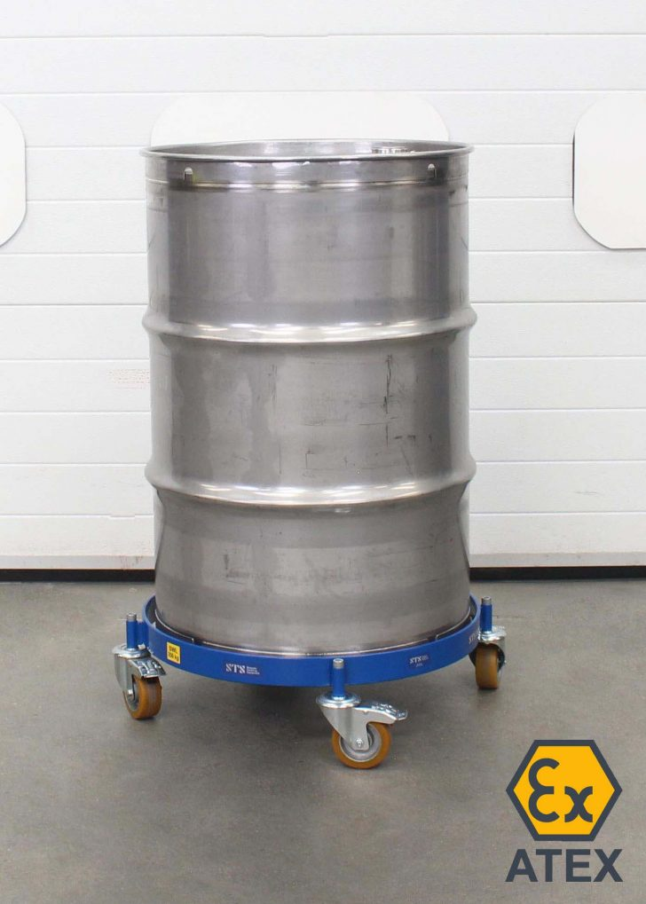 ATEX oil drum dolly suitable for hazardous and zoned areas.