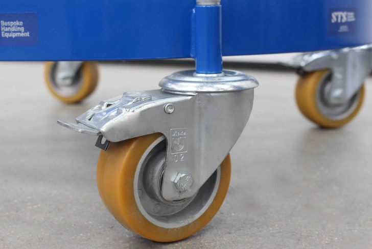 High quality wheel and braked castors fitted to a oil drum dolly.