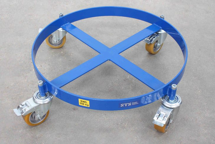 Close up of a oil drum dolly manufactured in steel and powder coated in blue powder coating