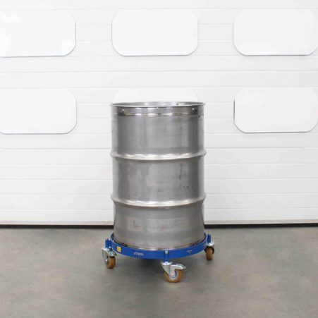 Stainless steel oil drum on a oil drum dolly