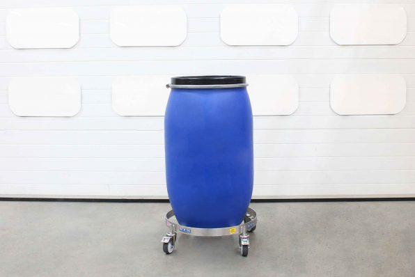 Stainless Steel Drum Dolly holding a MAUSER-style 350kg drum