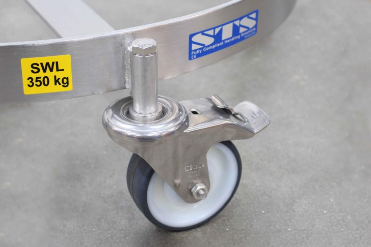 Drum dolly castor brakes for storing in a static position