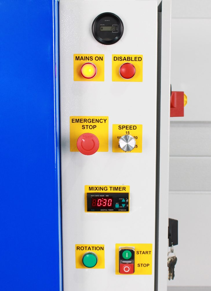 Horizontal small drum rollers - electric control panel.