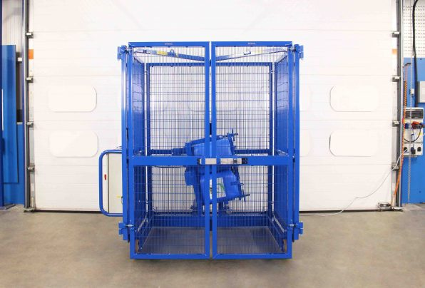End-over-end tumbling machine designed for use with plastic tubs.